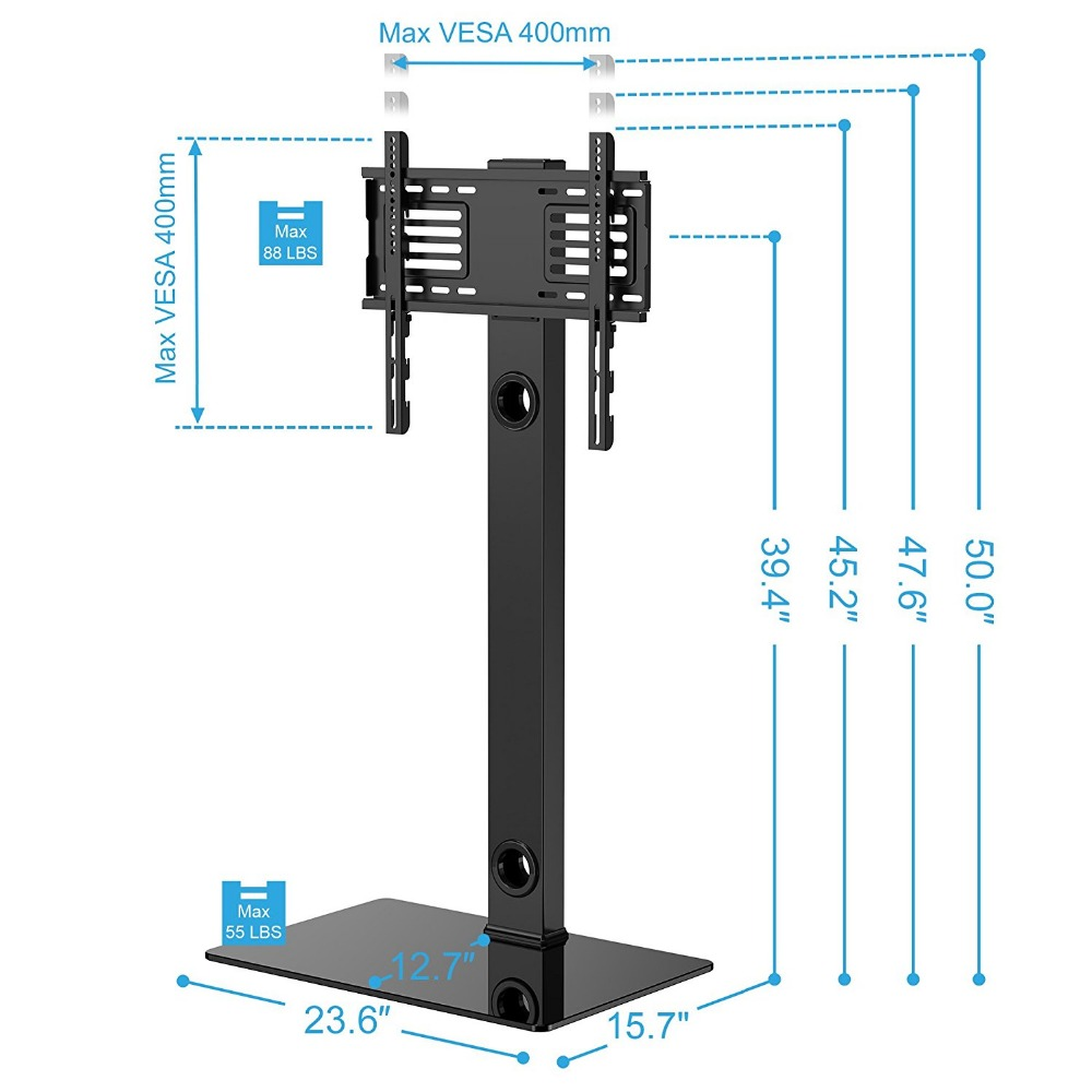 Fitueyes Universal Swivel Tv Stand Base With Mount Height Adjustable