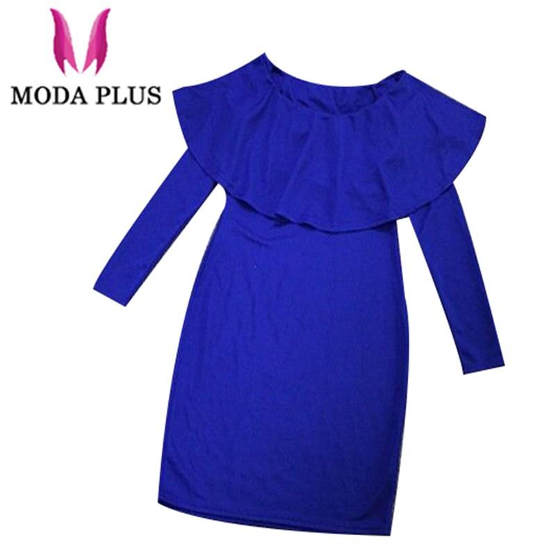 Frill-Winter-Dress-S-XL-Mint-Green-Navy-Blue-Dress-OL-Slash-neck-Long-Sleeve-Mini