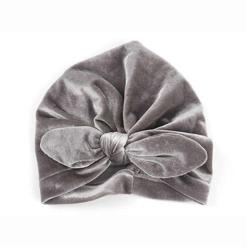 เด็กกำมะหยี่หมวกหมวกโบว์ทารกแรกเกิดเด็กสาวหมวก Bowknot หมวกเด็ก Turban เด็กทารกฤดูใบไม้ร่วงฤดูหนาวหมวกการถ่ายภาพ props