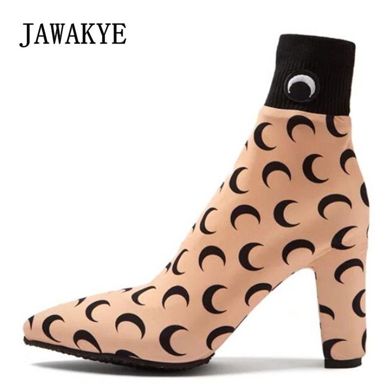 2018 Newest Moon Decor Stretch Ankle Boots Women Pointed Toe Chunky High Heel Shoes Woman Fashion Elastic Sock Boots jady rose fashion stretch fabric ankle boots for women chunky high heel sock boot elastic pointed toe female back zip high boots