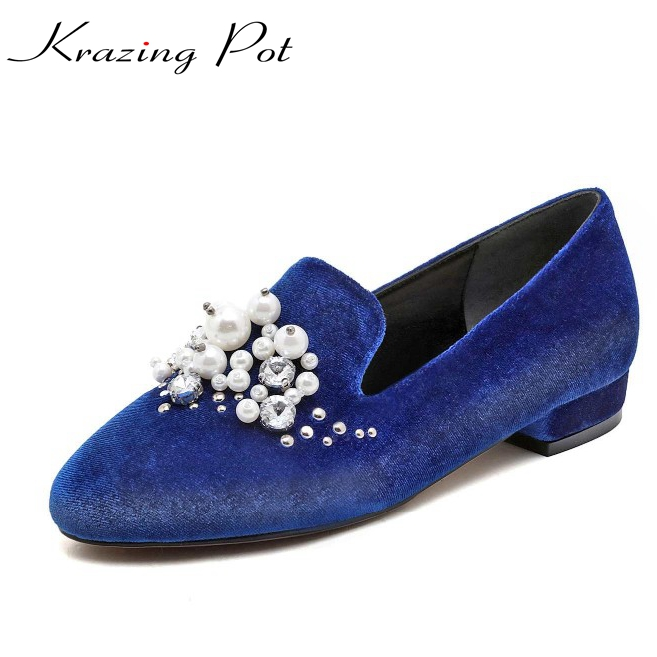krazing Pot gladiator style big size low heel round toe string bead genuine leather Handmade loafters slip on women shoes L66 vinlle 2017 women pumps college style square med heel vintage slip on pu leather shoes casual round toe girl shoes size 34 40