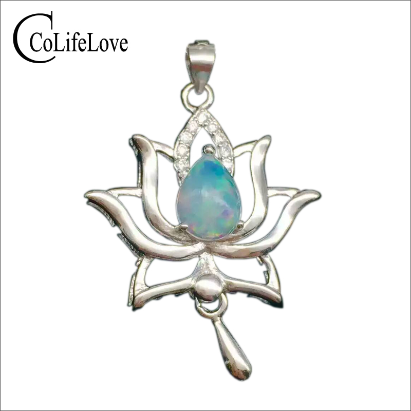 Maple leaf pendant silver necklace pendant natural opal gemstone pendant for woman real solid 925 sterling necklace free gift