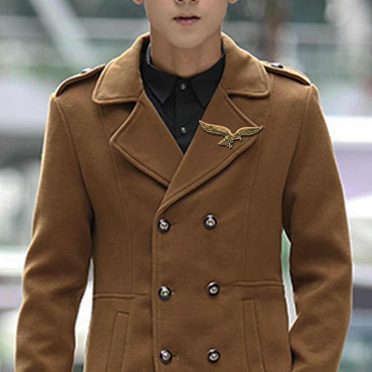 Korea Fashion Baru Bros Emas Sayap Elang Bentuk Bros Syal Gesper Kerah Logam Pin Lencana untuk Pria Kemeja Kerah Aksesoris