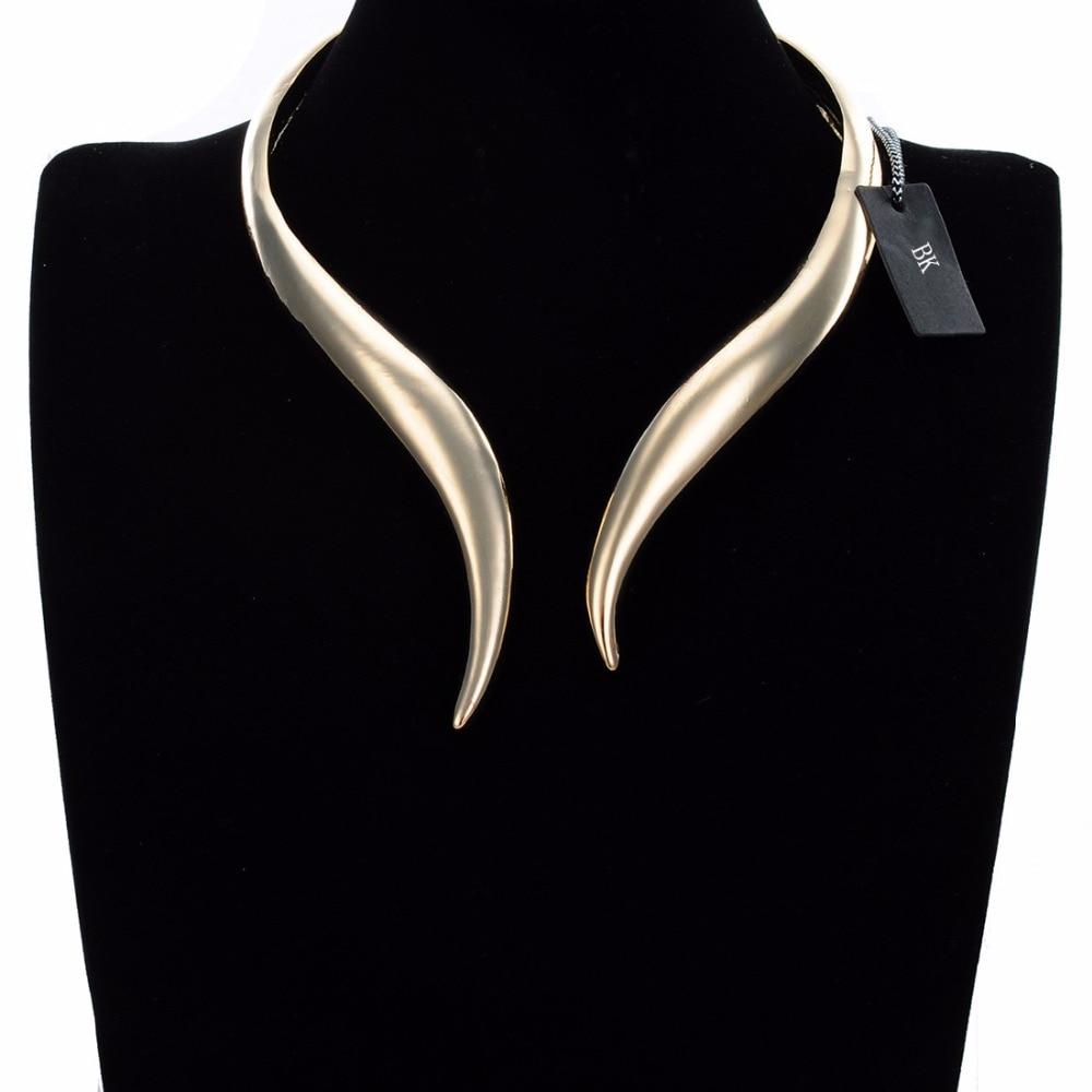 BK Multicolor Fashion Concise Shiny Gold Silver Punk Loop Collar Choker Pendant Bib Necklace