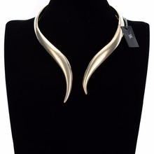 BK Multicolor Fashion Concise Shiny Gold Silver Punk Loop Collar Choker Pendant Bib Necklace