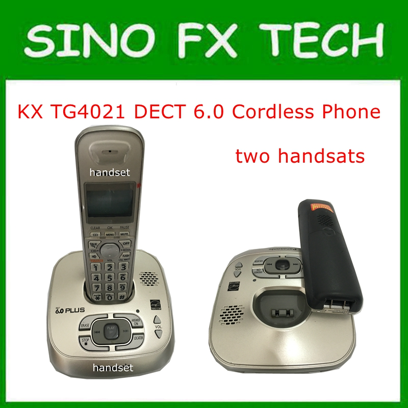 98% NEW KX-TG4021 DECT 6.0 Expandable Digital Cordless Phone With Answering System 2 Handsets Wireless Home Telephone KX-TG4011 2 handsets kx tg4021 digital cordless phone with answering system dect 6 0 silver