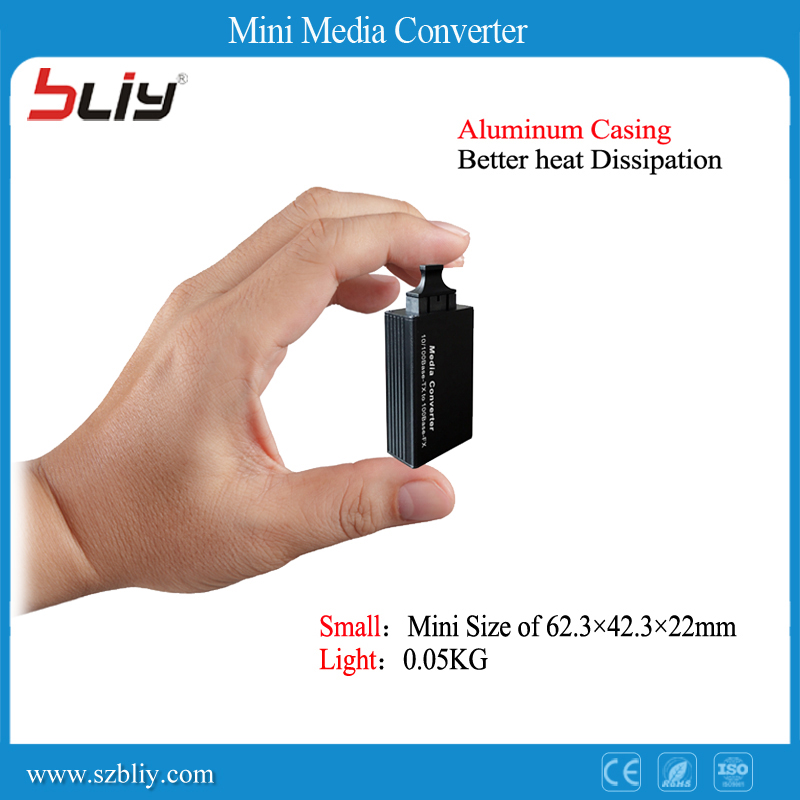 1 Pair Fiber Optic Media Network Optical Converter Mini Single Mode 20KM SC 1310nm/1550nm 100Mpbs Fast Ethernet Transceiver