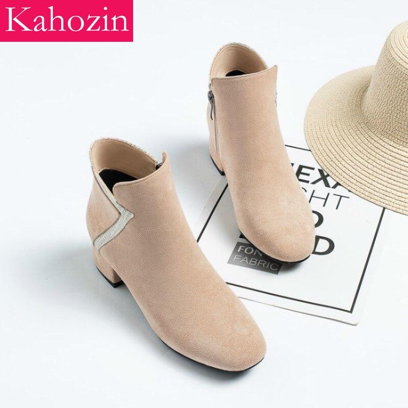 Kahozin printemps/automne talon haut bottine talon carré 5CM zip femmes mocassins belles chaussures pour femmes décontracté size33-43