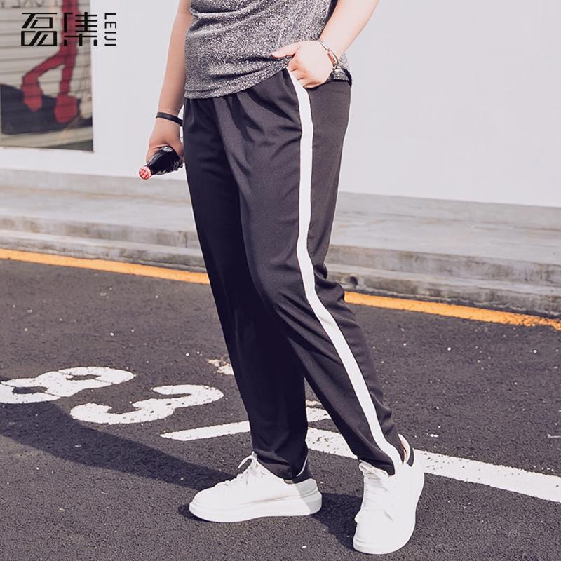 Fashion 2018 Striped Pants Woman Straight Casual High Waist Plus Size Pantalon Femme Sweatpants Female Trousers