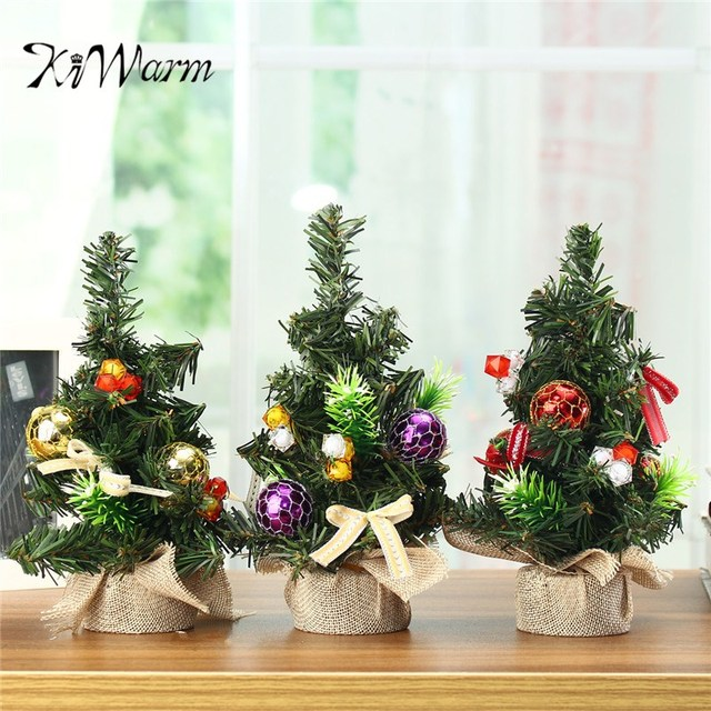 kiwarm exquisite 3 colors 20cm mini christmas pine tree festival christmas party ornaments miniature decor display