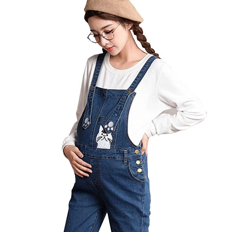 Print Cartoon Maternity Overalls Jeans For Pregnant Women Pants Pregnancy Braced Bibs Work Carrying Elastic Suspenders Uniforms