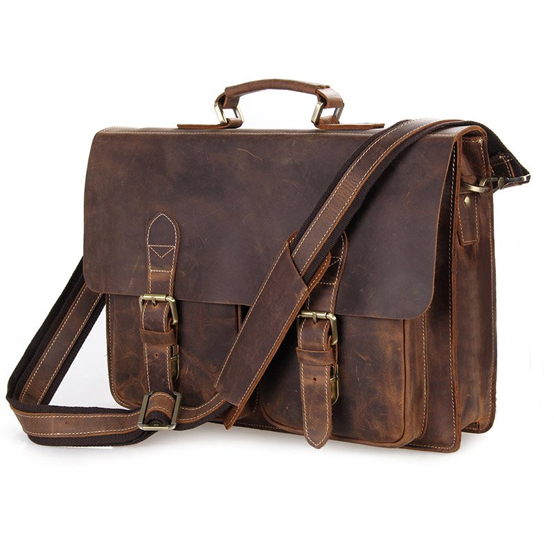 Augus Crazy Horse Leather Classic Business Briefcase Handbag Trendy Laptop Bag Fashional Shoulder Bag For Young 7105B-1
