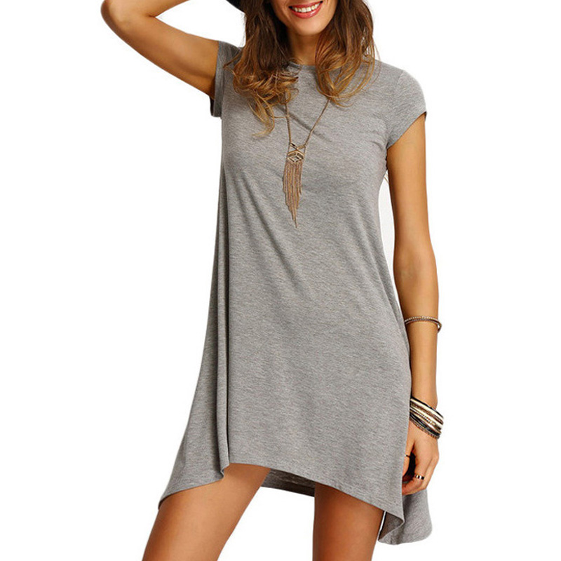 Fashion Women Summer Grey Dresses O-neck Short Sleeve Asymmetric Hem Short Dress Casual Loose Cotton Streewear Tees Dress