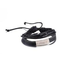 2017 Summer Style Unisex Genuine Leather Bracelets Vintage Cowhide Jewelry Handmade Rope Wrap Leather White&Black Bracelets Gift