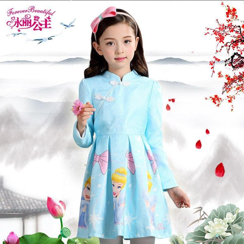 2018 Chinese Style Short Girls Dress Children Clothes Kids Girl Performance Costume Fashion Cartoon Print Princess Dress.YL47B