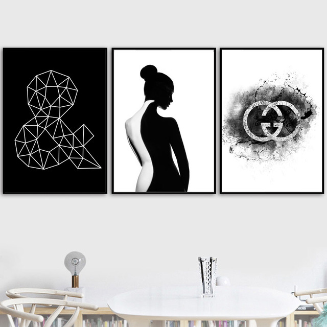 Black White Pairs Sexy Back Girl Geometry Posters