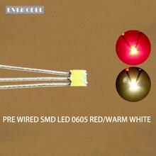 DT0605RWM 20 adet önceden lehimli litz kablolu çift renkli çift kırmızı/sıcak beyaz SMD 0605 LED