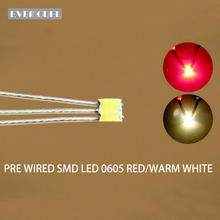 DT0605RWM 20 sztuk wstępnie lutowane litz przewodowy dwukolorowy podwójny czerwony/ciepły biały SMD 0605 LED