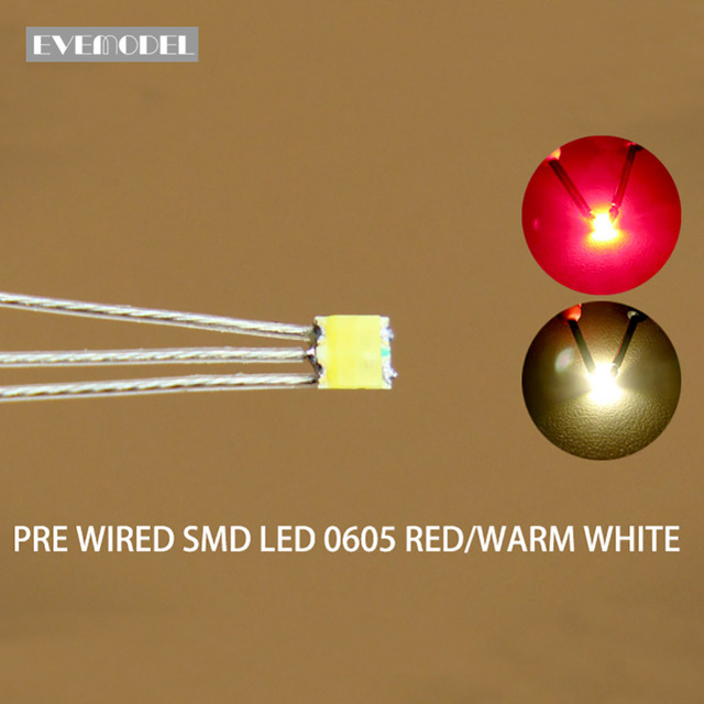 DT0605RWM 20Pcs Pre Gesoldeerd Litz Bedrade Bi Kleur Dual Rood/Warm Wit Smd 0605 Led