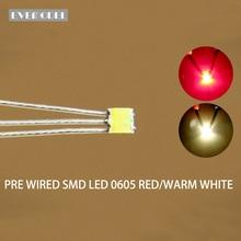 Dt0605rwm 20 pces pre soldada litz wired bicolor duplo vermelho/branco quente smd 0605 led
