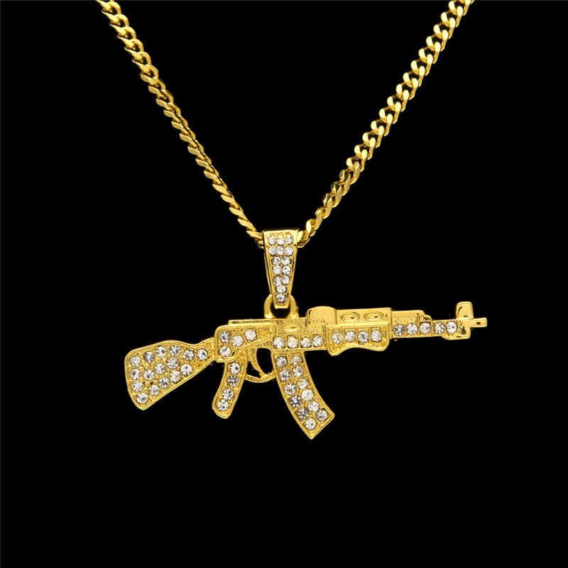 הצהרת סגסוגת AK47 אקדח תליון שרשראות אייס מתוך ריינסטון ארוך שרשרת כסף זהב צבע שרשרת נשים גברים היפ הופ תכשיטים
