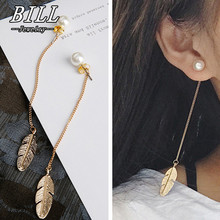 ES287 Simulated Pearls Long Tassel Dangle font b Earrings b font For Women Leaf Feather Drop
