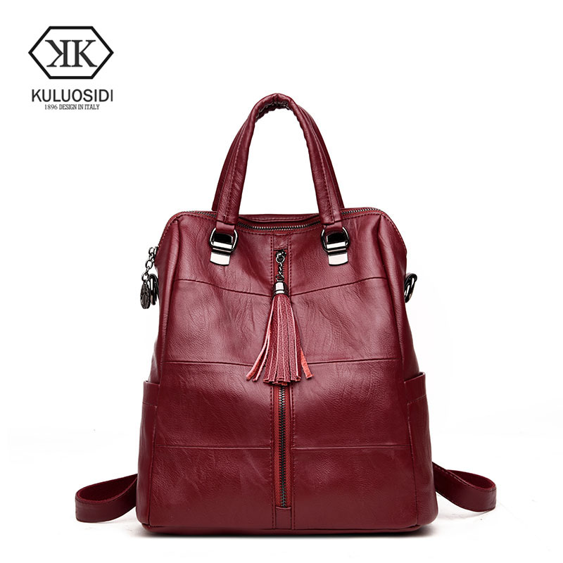 KULUOSIDI Casual Patchwork Female Backpacks For Teenage Girls High Quality Pu Leather Backpack Women With Tassel Mochila Bagpack cardamom fashion leather backpack women bags cowhide leather bagpack with colorful patchwork backpacks for women