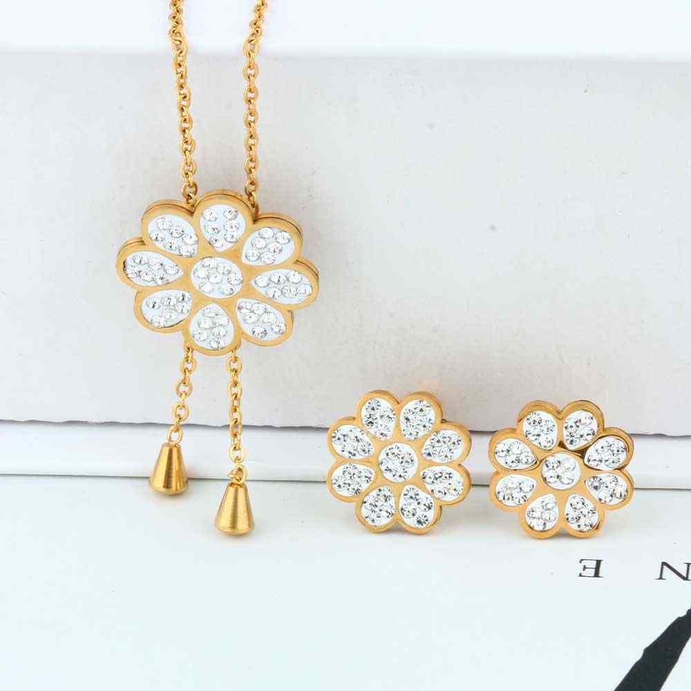 OUFEI סיטונאי נירוסטה פרח אופנה חתונת תכשיטי סטי נשים שרשראות עגילי סטים הודי תכשיטי אבזרים