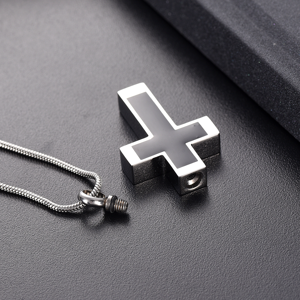 IJD11124 Funeral Jewelry -Black Cross Stainless Steel Memorial Urn Necklace Locket Hold Ashes Keepsake Cremation Pendant For Men 4
