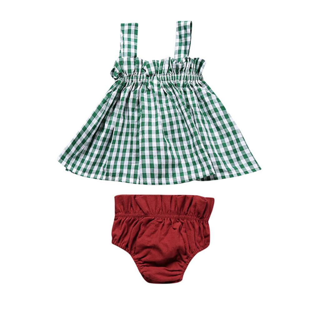 Baby Children Clothing Set 2018 New Summer Fashion Girls Clothes Plaid Tops Shorts Kids Costume 1 2 3 4 Year Newborn Girls Suits newborn baby girls clothes set off shoulder girl costume blue sleeveless denim tops ruffle shorts outfits summer clothing 2pcs