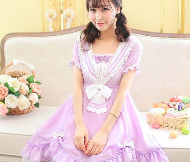 Princesse douce lolita robe oncle fleur marine style japonais collège doux violet robe UF14