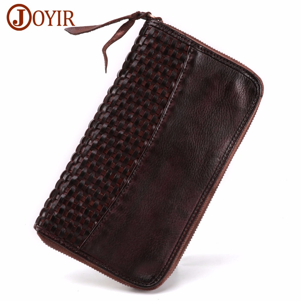 JOYIR Brand Men Wallet Purse Genuine Leather Luxury Long Clutch Handy Bag Men's Clutch Wallet Zipper Long Wallets For Male Gift luxury brand vintage handmade genuine vegetable tanned cow leather men women long zipper wallet purse wallets clutch bag for man