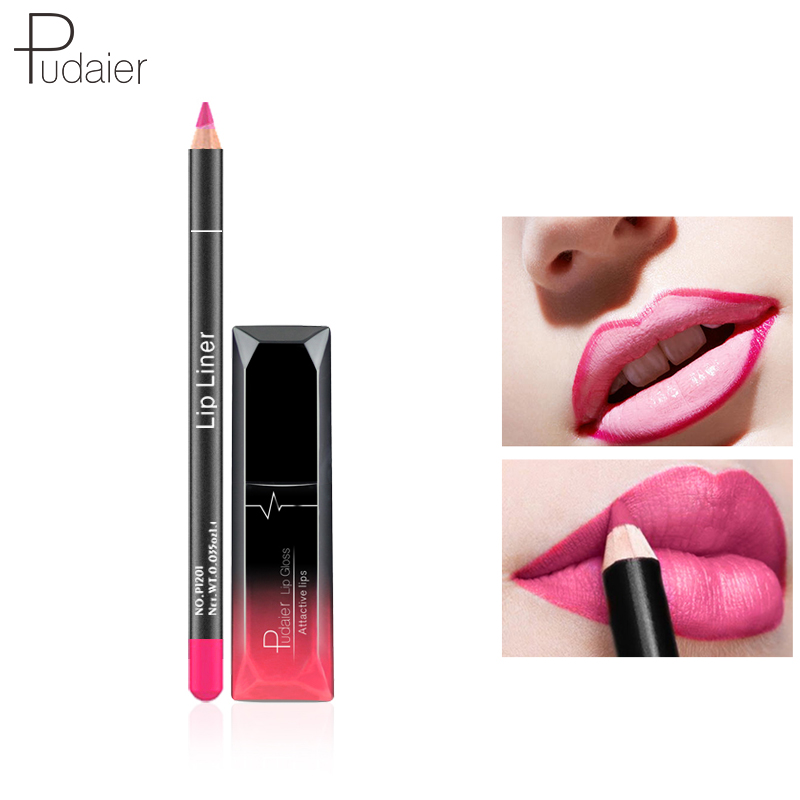 pudaier 12colors lip gloss tint liquid matte makeup with lip liners pencil rouge a levre mat