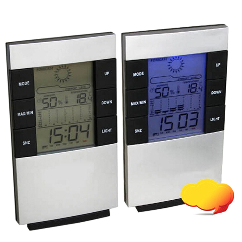 Electronic Thermometer hygrometer LCD backlight digital display Indoor outdoor temperature tester Weather Station Alarm Clock