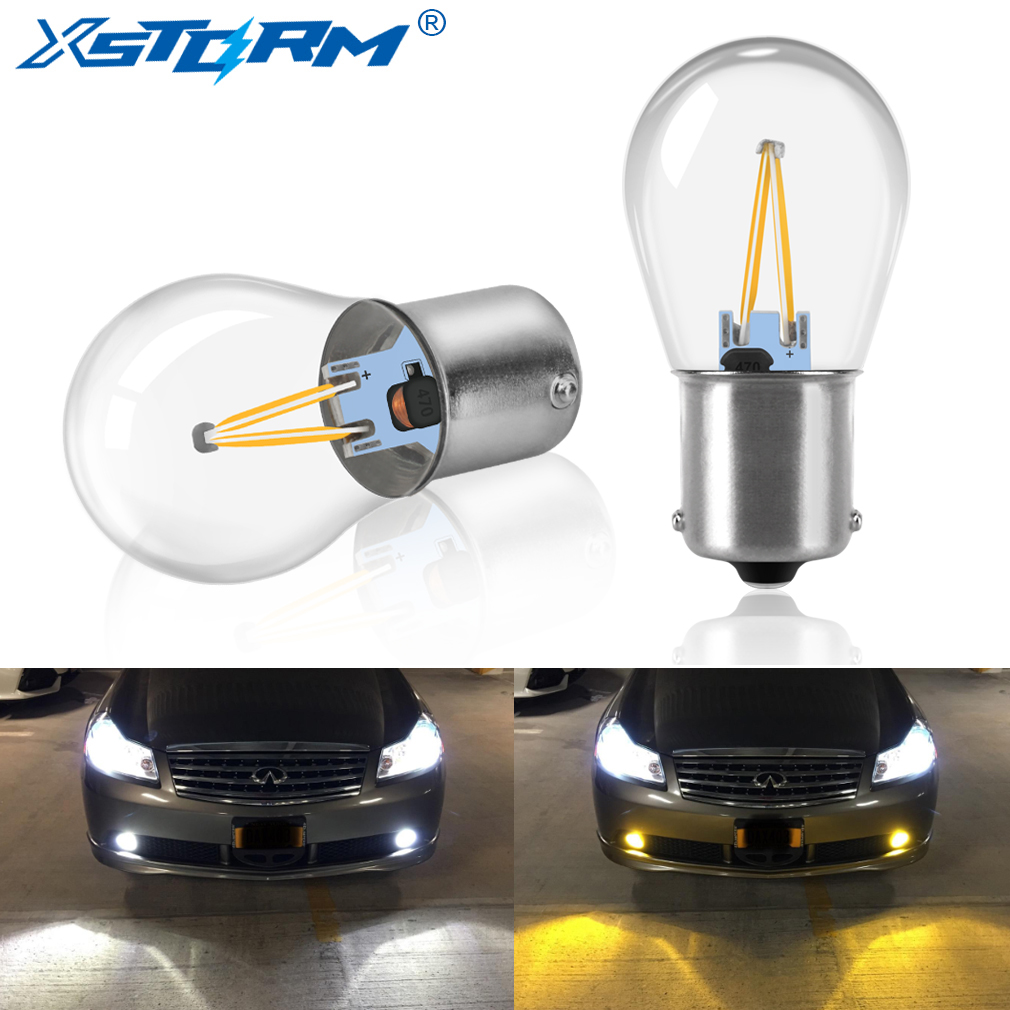 2Pcs 1156 BA15S P21W Led Bulb 1157 BAY15D P21/5W Led COB Car Turn Signal Lamp Reverse Light Auto 3000K Yellow 6000K White