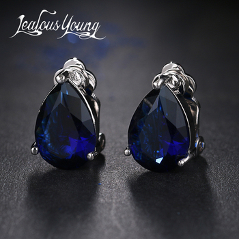 Fashion Water Drop Cubic Zirconia Clip Earrings With Elegant Blue Stone Earrings for Punk Girl Party Gift Pendientes Mujer Moda