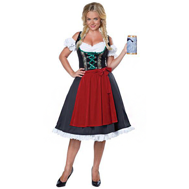 Germany Ladies Oktoberfest Beer Girl Maid Costume Dirndl Waitress Short Heidi Fancy Dress