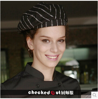 Free Shipping Cook Cap Forward Beret Cap Checkedout Male Chef Cap Female Work Cap