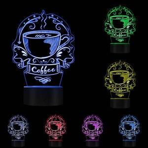 Image 5 - Angepasst Kaffee Logo Dekorative Beleuchtung Kunst Bunte Kaffee Haus Business Zeichen Koffein Cafe Logo 3D Led Nachtlicht Geschenk