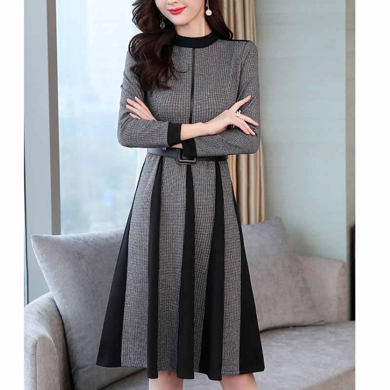 2019 осенне-зимнее женское платье весеннее элегантное ретро платье выше колена с круглым вырезом и длинным рукавом ТРАПЕЦИЕВИДНОЕ ПЛАТЬЕ для офиса
