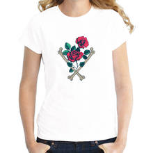 T Shirt Good Quality Tops Short Sleeve Printed Crew Neck Womens Rose Tee