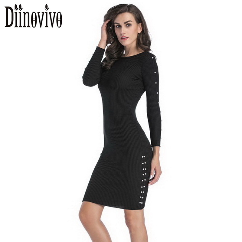 Women's Sexy Pearl Dress New Long Sleeve Knitted Bodycon Dresses Black Spring Casual Party Ladies Bandage Tunic Dress SWS050 цена
