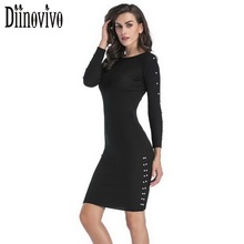 Women's Sexy Pearl Dress New Long Sleeve Knitted Bodycon Dresses Black Spring Casual Party Ladies Bandage Tunic Dress SWS050