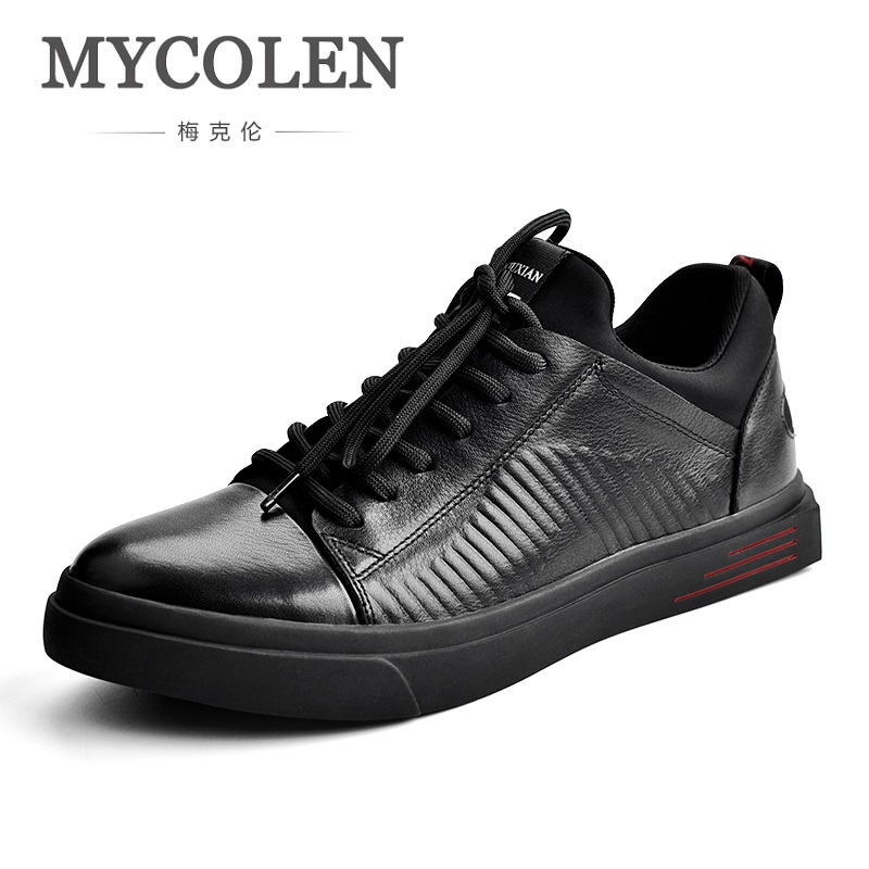 MYCOLEN Men Genuine Leather Shoes Fashion Casual Skateboard Shoes Luxury Brand Designer Cowhide Flats Shoes Sepatu Kulit Pria grimentin fashion 2016 high top braid men casual shoes genuine leather designer luxury brand men shoe flats for leisure business