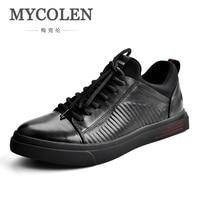 MYCOLEN Men Genuine Leather Shoes Fashion Casual Skateboard Shoes Luxury Brand Designer Cowhide Flats Shoes Sepatu