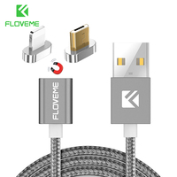 FLOVEME 2 Connectors Magnetic Cable For IPhone 7 Plus 8 5s Micro USB Cable Magnet Charger