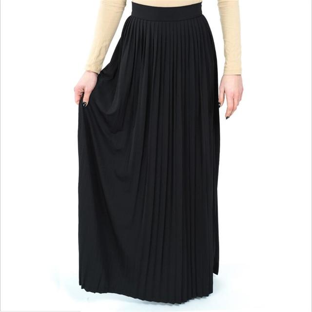 396e5389ad 2018 New Fashion Long Muslim maxi skirt turkey arab clothing solid Islamic  high waist pleated skirt plus size M-2XL