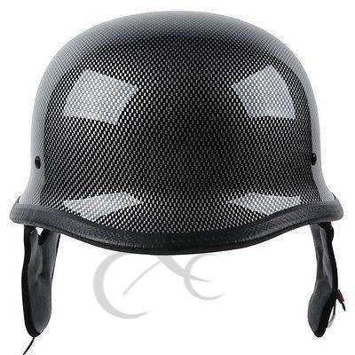 DOT Carbon Fiber WWII German Style Motorcycle Half Face Helmet Helmets For Cruiser ATV Chopper Biker Scooter M/L/XL 1