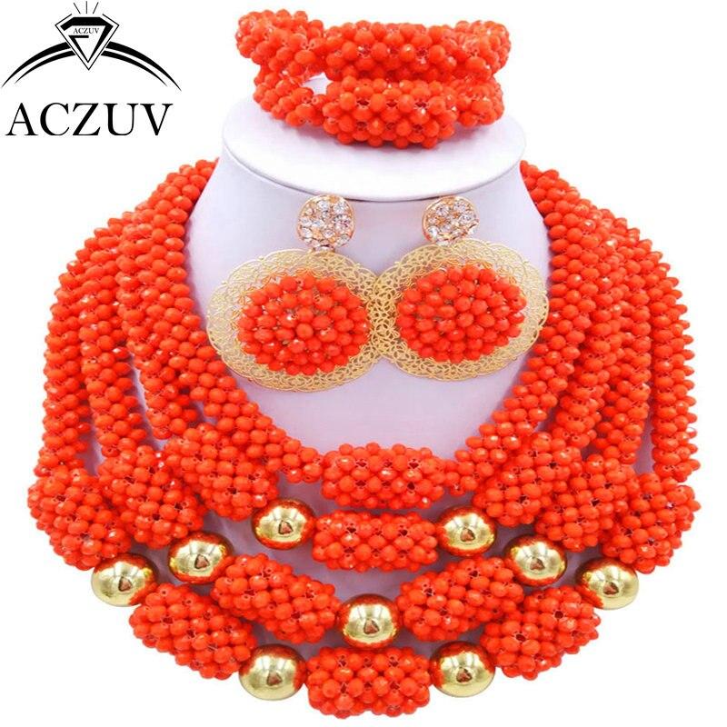 ACZUV Latest Orange Red Crystal African Jewelry Set Nigerian Wedding Beads D4R030