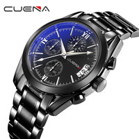 CUENA Mens Watches Military Army Top Brand Luxury Sports Casual Waterproof Mens Watch Quartz Stainless Steel